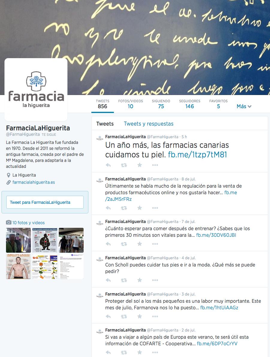 Farmacia La Higuerita - Twitter